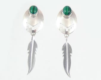 Sterling & Malachite Feather Earrings