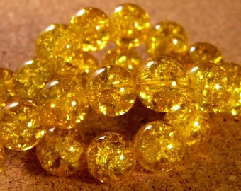 glass Crackle 10 mm - golden yellow PE152 85 beads