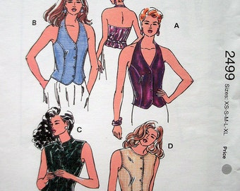 Kwik Sew Pattern 2499 Misses Fitted Lined Tops with Variations Size Xs-Xl Bust 31 1/2-45 Woven Fabric Only UNCUT Pattern