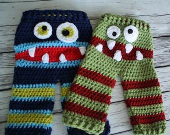 Monster Baby Pants - Crochet Striped Baby Monster Pants - Monster Face Pants Set - Twin Costume Pants - Crochet Pants - by JoJo's Bootique