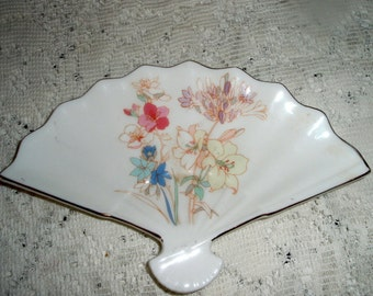 Porcelain Fan shaped tray  Fan shaped dish  vintage collectible Asian porcelain fan plate, candy dish