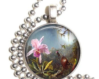 Cattleya Orchid and Three Brazilian Hummingbirds Art Pendant, Flower and Birds Resin Pendant, Earrings and Key-chain, Photo Jewelry
