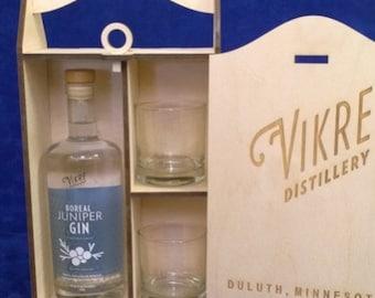 Personalized Single Bottle 750 ml Spirits Box-11 oz. engraved rocks glasses-wooden spirits box-Wedding Gift-Groomsman Gift-Wooden Box-Gifts