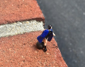 Tiny Female Superhero in HO Scale Perfect for Planter or Terrariums Choose your Cape and Hair Color