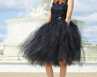 Tulle skirt - black tulle skirt - Tea length tulle skirt - Tulle skirt- Bridal tulle skirt- Wedding tulle skirt- Wedding dress- Formal skirt