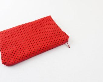 Red and Black Polka Dots Zipper Purse Ladybug Make Up Bag Rockabilly Clutch