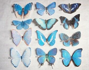 Pretty Silk Butterfly Hair Clips - Hand cut from Silk -Swarovski - Crystals - Blues