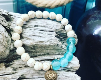 Magnesite + Indonesian Recycled Glass + African Glass Bell | Stackable Yoga Style Bracelet