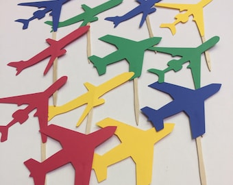 airplane birthday decor, airplane cupcake topper, boy airplane birthday party decor, airplane baby shower, boys baby shower, airplane party