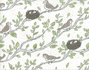 Nest Fabric by Lella Boutiquee for Moda, #5061-11, Eggshell, Birdsong White, Birds Nest - IN STOCK