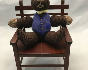 Handmade Knitted Teddy Bear - 100% Pure Wool with Needle Felted Vest