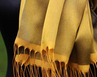 Gold Yellow Silk Scarf / Pure Silk Scarf / Handmade Silk Scarf Shawl  / Elegant Yellow Scarf / Bridal Wrap / Bridesmaid Gift
