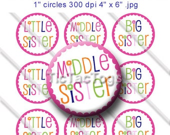 Little Middle Big Sister Bottle Cap Images 1 Inch Circles Digital JPG Colorful Scalloped Flower - Instant Download - BC334