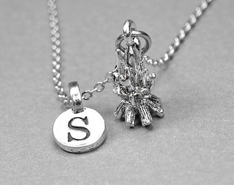 Camp Fire Necklace, fire charm, silver plated pewter, initial necklace, initial hand stamped, personalized, monogram