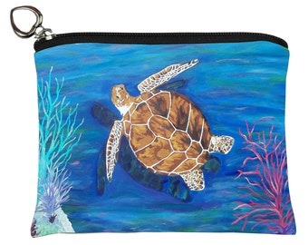 Loggerhead Sea Turtle Change Purse- Support Sea Turtle Conservation, Read How - From My Original Painting, The Pilgrim