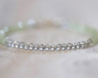 labradorite & prehnite bracelet. thin labradorite prehnite gemstone bracelet. labradorite prehnite beaded jewelry. pale colored bracelet
