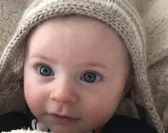 KNITTING PATTERN, knit Baby Hat pattern, knit baby beanie pattern, photo prop knitting pattern  Mr. Bean's Baby Cap