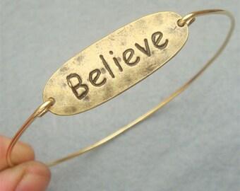 Believe Brass Bangle Bracelet