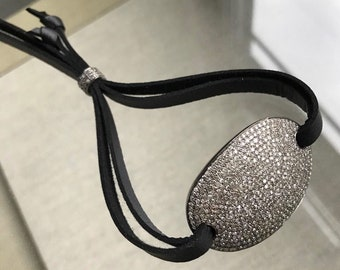 Silver Pave Diamond Cuff Bracelet