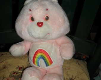 Vintage - Pink Care Bear - Cheer  Bear - 1983 - w/h rainbow