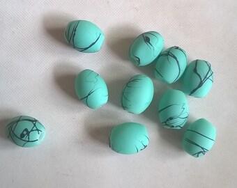Set of 56 blue olive / green stripes
