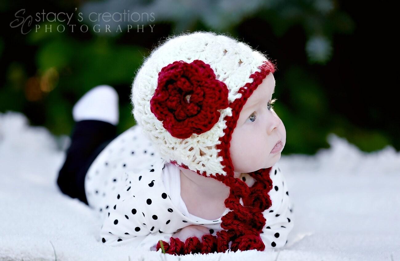 Crochet Baby Girl Hat Crochet Baby Bonnet Flower Crochet