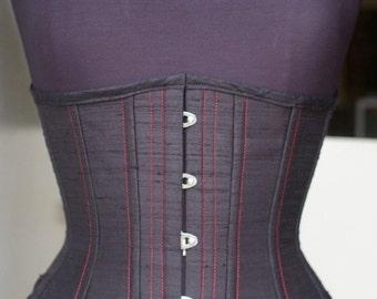CUSTOM TG Transwoman Underbust pick your size Corset Waist Training Crossdresser Burlesque Steampunk Steel Boned Silk