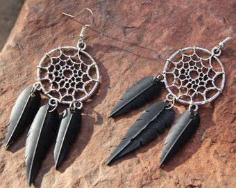 Dreamcatcher Faux Feather Earrings | Recycled Bike Tire Tubes