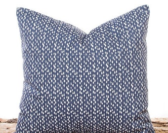 SALE ENDS SOON Riverbed Dark Blue Throw Pillow Cover, Blue Decorative Pillows, Accent Pillow, Blue Dots Fabric, Navy Sofa Pillows, Bed Pillo