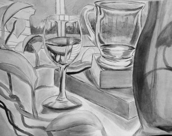 Watercolor B&W Still Life
