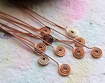 10 Lollipop swirls Copper Head pins - 24 gauge 2 inch Handmade