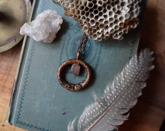 Rose Quartz Garnet and Emerald Copper Pendant