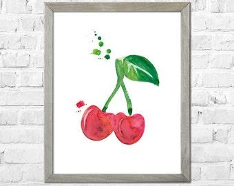 Fruit Watercolor Print, Cherry Watercolor Painting, Botanical Watercolor, Kitchen Wall Art, Watercolor Cherry Print, Kitchen Decor