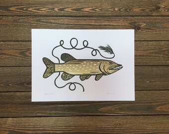 Northern Pike On The Fly - Woodcut Letterpress Original Print