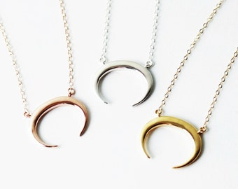 Moon Necklace, Silver, Rose or Gold, Boho Necklace, Long Necklace, Crescent Moon Necklace, Long Necklace Pendant, Double Horn Necklace
