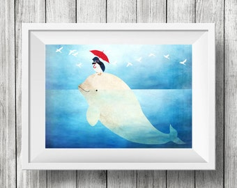 Beluga and Little Penguin, Nursery Animal Wall art, Kids Room, Ocean, Wall decor, Print