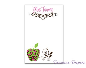 Personalized pink and green leopard note pads Teacher note pads Personalized teacher gift Personalized teacher