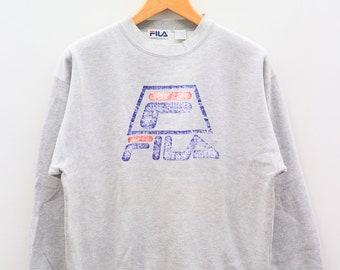 Vintage FILA Big Logo Big Spell Sportswear Gray Sweater Sweatshirt Size L