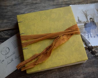 Yellow Coptic Stitch Journal, Hand Bound Notebook with Sari Silk Wrap, Gift for Writers, Hard Cover Notebook, Writing Journal, Yellow Jounal