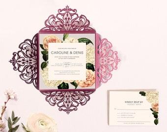 Floral Wedding Invitation Burgundy laser cut wedding invitation 2018