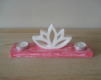 Red lotus candle holder