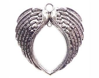 1 Silver Angel Wings Pendant Spread 71x67mm by TIJC - SP0816