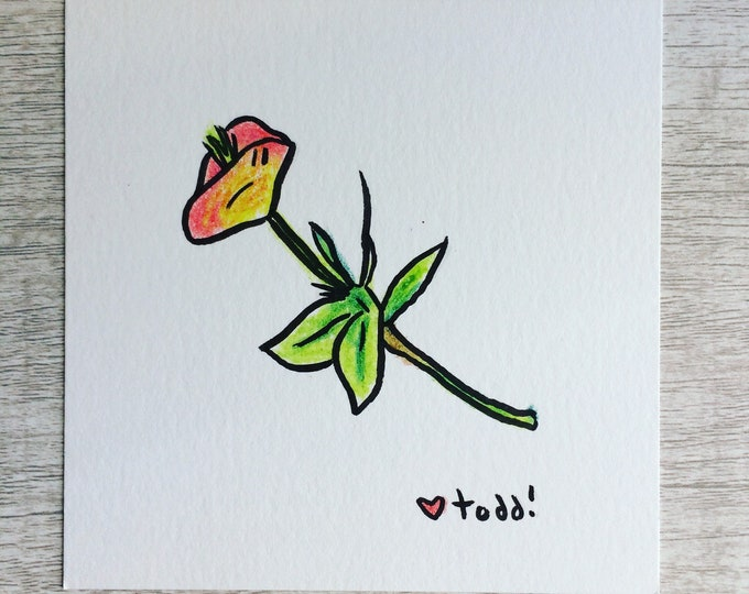 Single Flower, art, drawing, crayon drawing, original artwork
