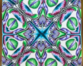 Square Polymer Clay Kaleidoscope Cane (25E)