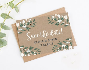 Botanical Rustic Kraft Folded Save the Date with Gems