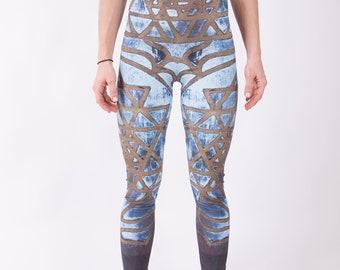 High waisted yoga pants, Sri Yantra art, new age leggings, ethical yoga tights, sacred geometry clothing, meditation apparel, festival pants