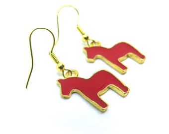 Red Horses Gold Dangle Earrings