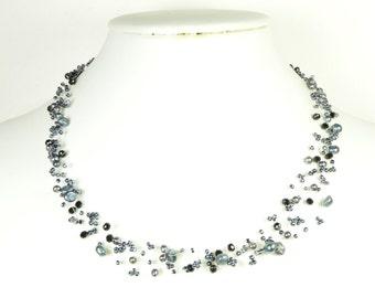 Pearl Necklace-  Multi strand Black Pearl Necklace - 3-6 mm Black Pearl Multi strand Freshwater Pearl Necklace - Wedding Jewelry