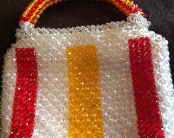 Beautiful vintage plastic vibrant clear, red & yellow beaded  JEM purse hand made in Hong Kong
