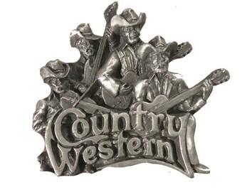 Vintage Country Western Band Belt Buckle - Fiddle Guitar Music - Cowboy - Old West - Hat - Banjo